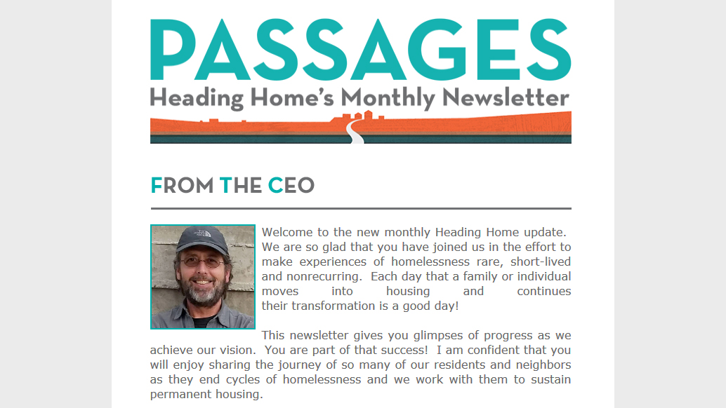 Passages - Heading Home's Monthly Newsletter